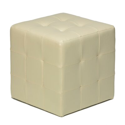 Delinda Cube Ottoman Upholstery: Ivory