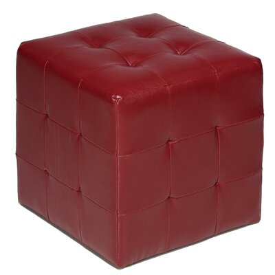 Delinda Cube Ottoman Upholstery: Red