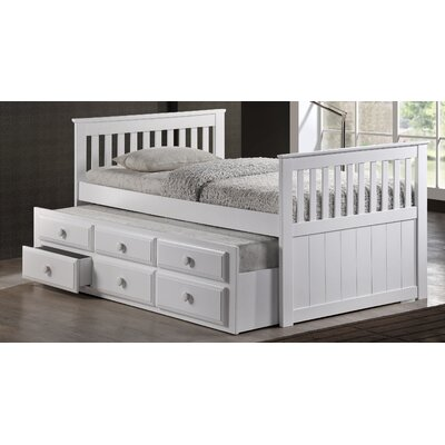 Riley Twin Captain Bed with Storage Color: White