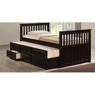 Riley Twin Captain Bed with Storage Color: Dark Brown