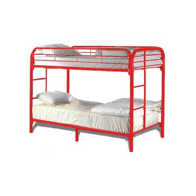 Twin Over Twin Bunk Bed Color: Red