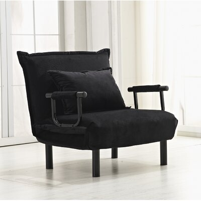 Vickie Convertible Chaise Lounge Upholstery: Black