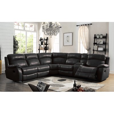 Heffron Leather Reclining Sectional Upholstered: Black