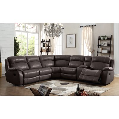 Heffron Leather Reclining Sectional Upholstered: Brown