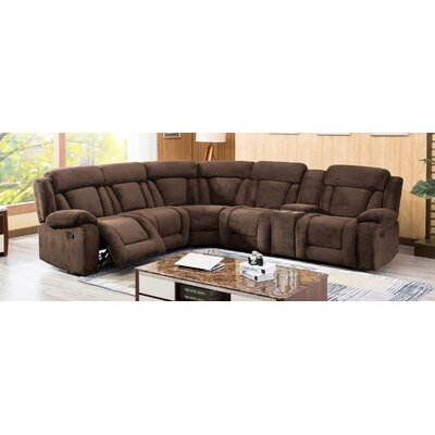 Herald Square Reclining Sectional Upholstered: Brown