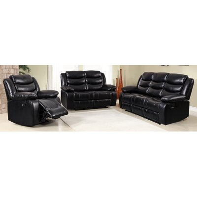 Hillcrest 3 Piece Living Room Set Upholstery: Black