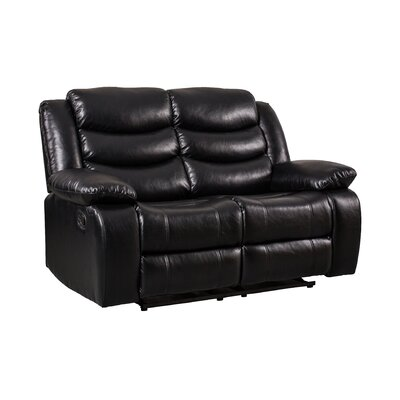 Hiles Reclining Loveseat Upholstered: Black
