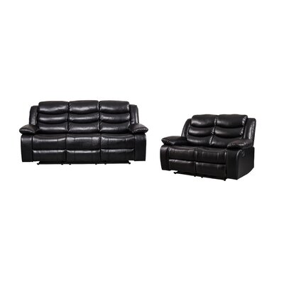 Hillard 2 Piece Living Room Set Upholstery: Black
