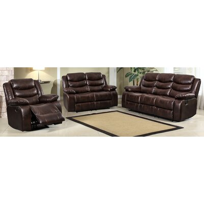 Hillcrest 3 Piece Living Room Set Upholstery: Brown