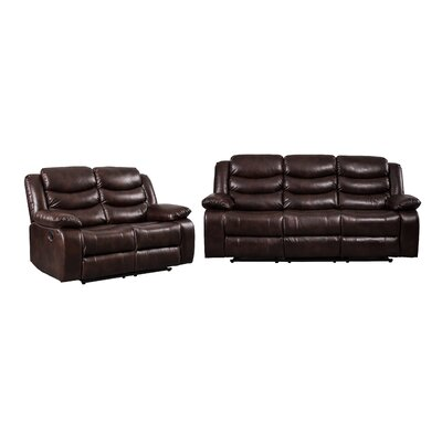 Hillard 2 Piece Living Room Set Upholstered: Brown