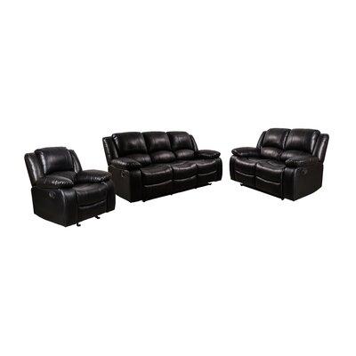 Herdon 3 Piece Living Room Set Upholstery: Black