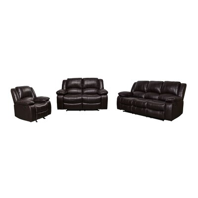 Herdon 3 Piece Living Room Set Upholstered: Brown