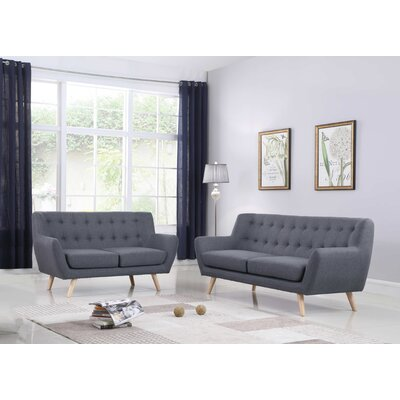 Zaragoza Mid-Century 2 Piece Living Room Set