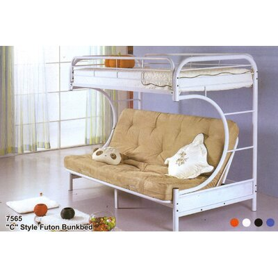 Twin over Full Futon Bunk Bed Color: White