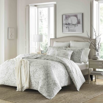 Verdon 100% Cotton 3 Piece Reversible Duvet Cover Set Size: King