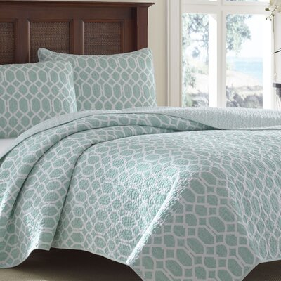 Catalina Trellis 3 Piece Reversible Quilt Set by Tommy Bahama Bedding Size: Twin, Color: Aqua