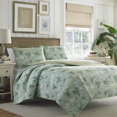 Anglers Isle Reversible Quilt Set by Tommy Bahama Bedding Size: Twin, Color: Aloe