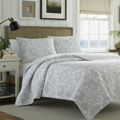Island Memory Reversible Coverlet Set by Tommy Bahama Bedding Size: Full/Queen, Color: Gray