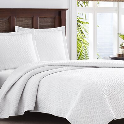 Chevron 100% Cotton Quilt Set Size: Twin, Color: White