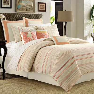 La Scala Breezer 4 Piece Reversible Comforter Set Color: Papaya, Size: King