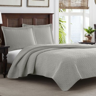 Chevron 100% Cotton Quilt Set Color: Pelican Gray, Size: King