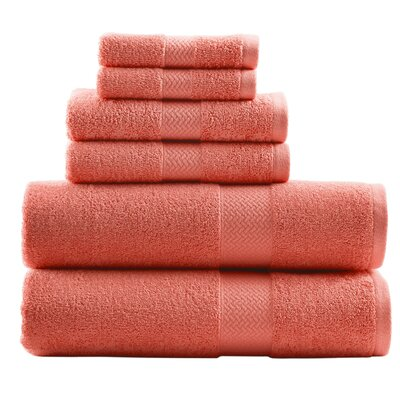 TB Cypress Bay 6 Piece Towel Set Color: Deep Coral