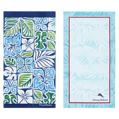 Tiki Block and Palm Spring Marlin 2 Piece Beach Towel Set
