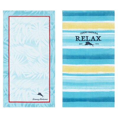 Captain Stripe and Marlin 2 Piece Beach Towel Set