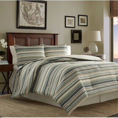 Canvas Stripe 3 Piece Duvet Cover Set Size: King
