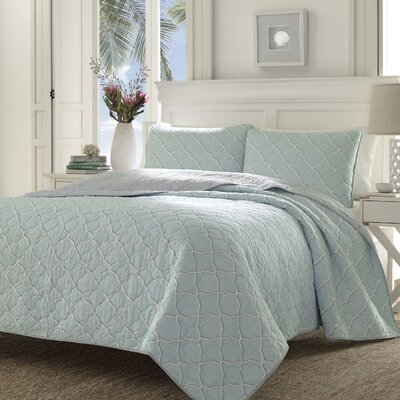 Travel Trellis Ocean Mist Reversible Quilt Set by Tommy Bahama Bedding Size: King