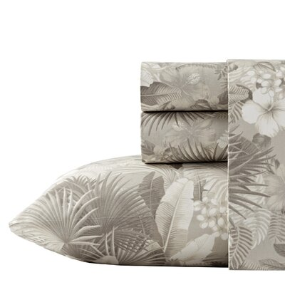 Hibiscus Haven 4 Piece 200 Thread Count 100% Cotton Percale Sheet Set