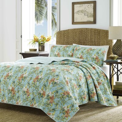 Orchid Days 100% Cotton Reversible Quilt Set Size: FullQueen
