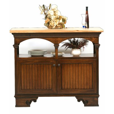 American Premiere Kitchen Island with Butcher Block Top Finish: Caribbean Rum, Door Type: Wood