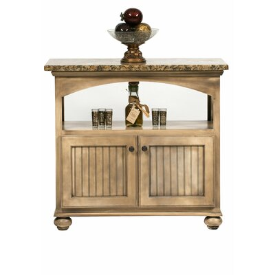 American Premiere Kitchen Island with Granite Top Door Type: Wood, Finish: Black