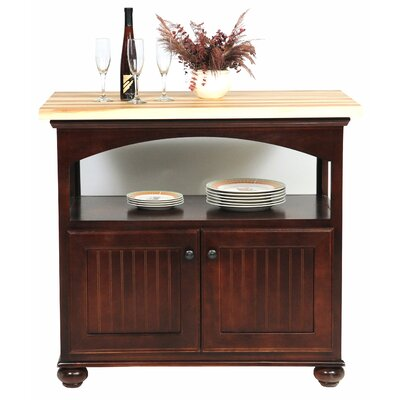 American Premiere Kitchen Island with Butcher Block Top Door Type: Wood, Finish: Soft White