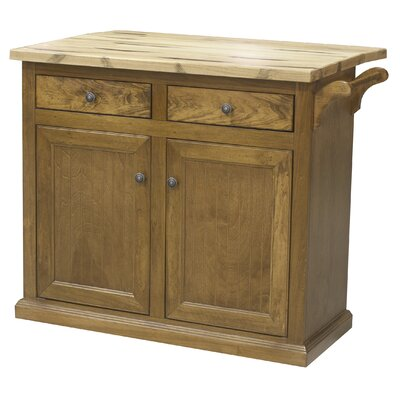 Kitchen Cart with Butcher Block Top Base Finish: Smokey Blue