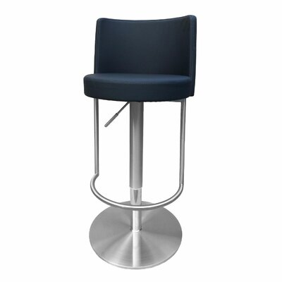 Bowery Adjustable Height Swivel Bar Stool Upholstery: Black