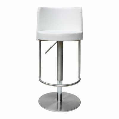 Bowery Adjustable Height Swivel Bar Stool Upholstery: White