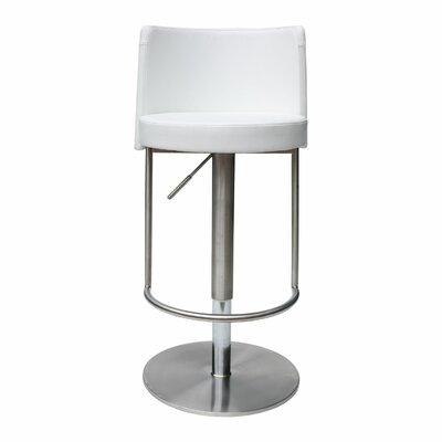 Bowery Adjustable Height Swivel Bar Stool Upholstery: White