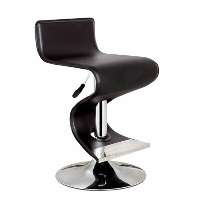 King Adjustable Height Swivel Bar Stool Upholstery: Black