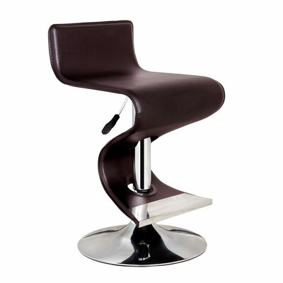 King Adjustable Height Swivel Bar Stool Upholstery: Brown