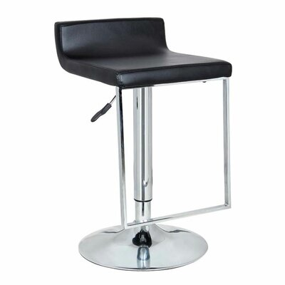 Spencer Adjustable Height Swivel Bar Stool Upholstery: Black