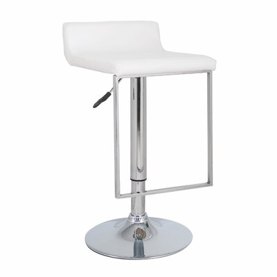 Spencer Adjustable Height Swivel Bar Stool Upholstery: White