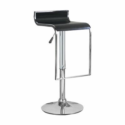 Hudson Adjustable Height Swivel Bar Stool Upholstery: Black
