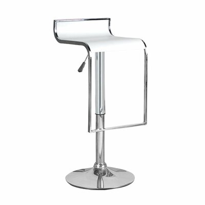 Hudson Adjustable Height Swivel Bar Stool Upholstery: White