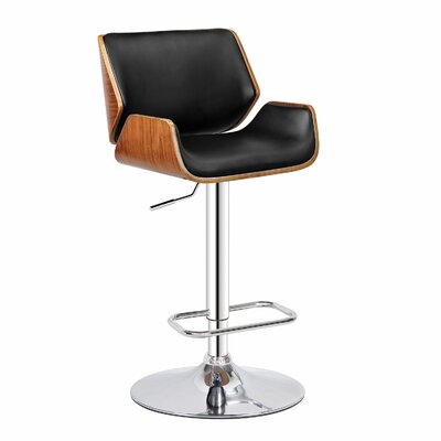 Dempster Adjustable Height Swivel Bar Stool Upholstery: Black