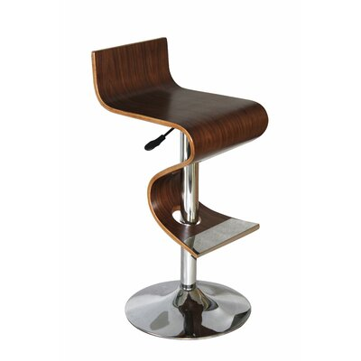 King Adjustable Height Swivel Bar Stool Upholstery: Walnut