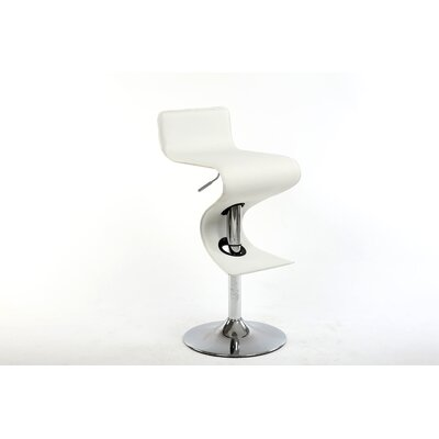 King Adjustable Height Swivel Bar Stool Upholstery: White