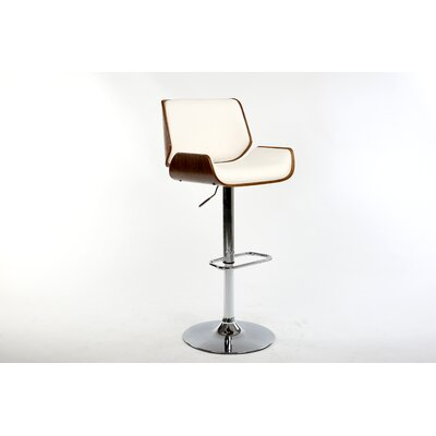 Dempster Adjustable Height Swivel Bar Stool Upholstery: White