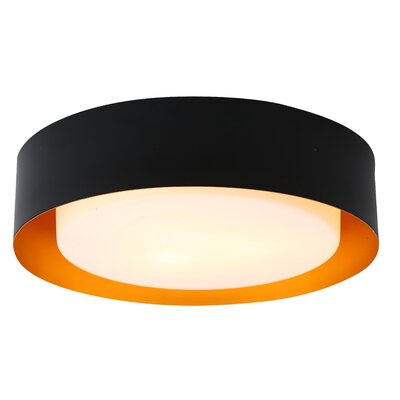 Berg 3-Light Flush Mount Finish: Black / Gold